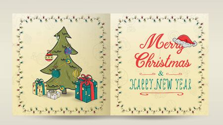 layout of Christmas and new year cards for decoration print design in the style of childrens Doodle in a frame of garlands divided into two halves with a congratulatory inscription tree and gifts