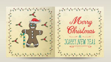 layout of Christmas and new year cards for the design of the print design in the style of childrens Doodle in a frame of garlands divided into two halves with a congratulatory inscription gingerbread man candy