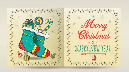 layout of Christmas and new year cards for the design of the print design in the style of childrens Doodle in a frame of garlands divided into two halves with a congratulatory inscription two socks wi