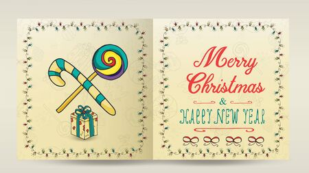 layout of Christmas and new year cards for decoration print design in the style of childrens Doodle in a frame of garlands divided into two halves with a congratulatory inscription candy box gift  イラスト・ベクター素材