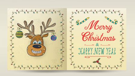 layout of Christmas and new year cards for decoration print design in the style of childrens Doodle in a frame of garlands divided into two halves with a congratulatory inscription deer with toys on t