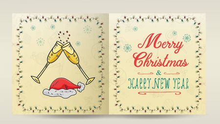 layout of Christmas and new year cards for the design of the print design in the style of childrens Doodle in a frame of garlands divided into two halves with a congratulatory inscription glasses with  イラスト・ベクター素材