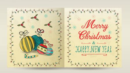 layout of Christmas and new year cards for decoration print design in the style of childrens Doodle in a frame of garlands divided into two halves with a congratulatory inscription toys balls