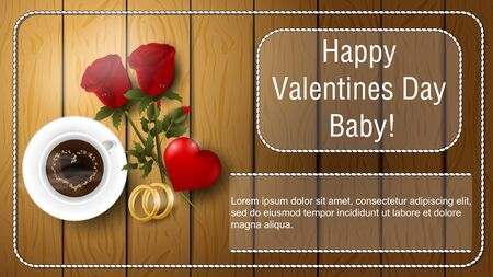 Valentines day greetings banner with space for text for postcard design decoration coffee Cup flowers roses rings and heart lie on wooden surface top view vector  イラスト・ベクター素材