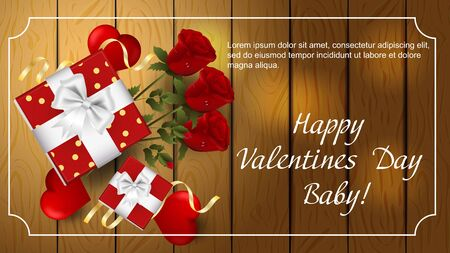 Valentines day greetings banner with space for text for postcard design decoration gift boxes flowers three roses hearts top view vector  イラスト・ベクター素材