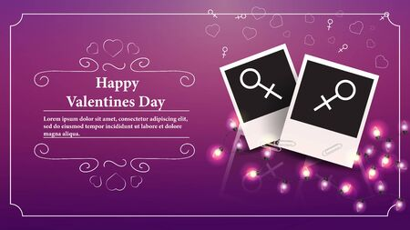 banner Valentines day greeting card with space for text for decoration design two photos with the sign of Venus for lesbian couples and female relationships vector  イラスト・ベクター素材