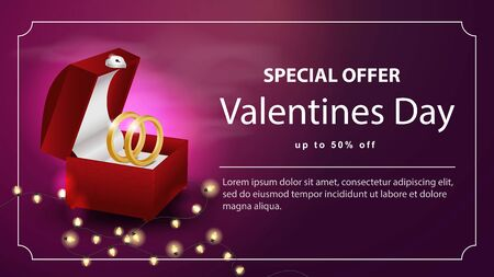 Special offer Valentines day discount up to fifty percent dark pink banner open casket with gold rings with space for text