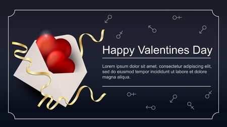 Valentines day greetings banner with space for text for postcard design decoration open mail envelope with red hearts top view vector