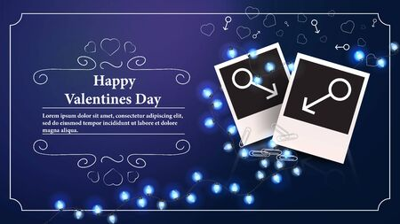 banner Valentines day greeting card with space for text to design two photos with the sign of Mars for gay couples and male relationships vector  イラスト・ベクター素材