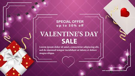 Special offer Valentines day discounts up to fifty percent of the pink banner with the inscription in the corners korbka with bow and mailing envelope garland frame vector
