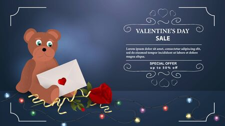 Valentines day discount up to fifty percent blue banner bear cub with postal envelope sits with flower rose with space for text frame garland vector