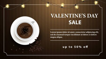 Valentines day up to fifty percent off brown banner coffee Cup with foam heart and scattered grains with space for text top view vector  イラスト・ベクター素材