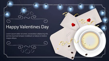 Valentines day blue banner with a place for the inscription congratulations a Cup of coffee cappuccino stands on mail envelopes in a garland frame vector