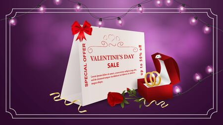 Special offer Valentines day discount up to fifty percent purple banner box with rings and rose flower with the inscription on the bum frame garland of light bulbs vector  イラスト・ベクター素材