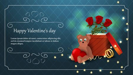 Valentines day greeting card banner bear cub with a heart sitting next to a box and flowers roses garland of light bulbs frame vector