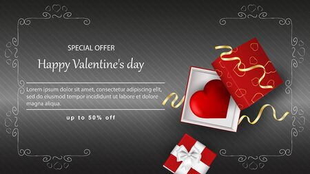 Special offer Valentines day discount up to fifty percent banner with inscription gift open box with heart inside garland frame top view vector
