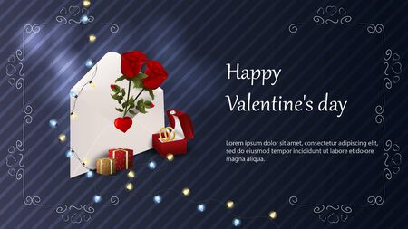 Valentines day greetings banner with space for text for postcard design envelope with roses box with wedding rings gift boxes garland vector  イラスト・ベクター素材