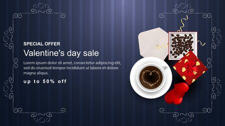 Special offer Valentines day discount up to fifty percent banner with inscription gift open box with coffee beans envelope Cup with drink hearts view from the top vector