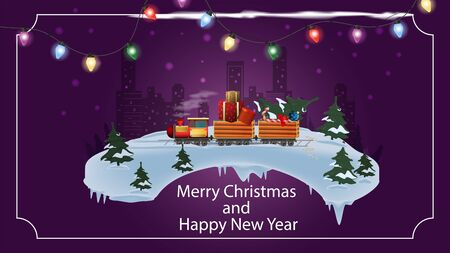 New year and Christmas banner with the inscription congratulations for making cards train in cars carries gifts through the forest in winter at night on the background of the city frame of garland vec