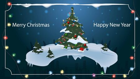 Christmas and new year banner with the inscription congratulations for the design of postcards decorated with spruce toys in snowdrifts in the forest on the background of the night city garlands vecto