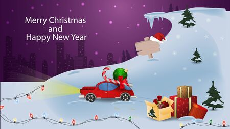 Christmas and new year banner with the inscription congratulations for the design of postcards red car among the snowdrifts carries gifts through the forest on the background of the night city garlands vector