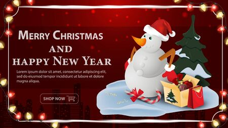 Christmas and new year banner greeting with space for text for decoration design cards snowman with boxes of gifts on a dark red background frame and garlands vector