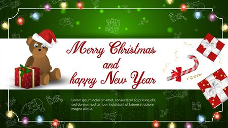 Christmas and new year banner greeting with space for text for decoration design cards little bear with boxes of gifts on a dark green background frame and garlands vector