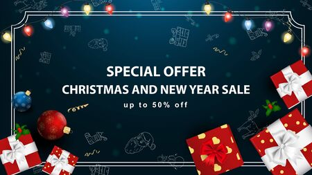 Special offer Christmas and new year sale up to fifty percent discount dark blue banner with garland and gift boxes light bulb garland frame vector