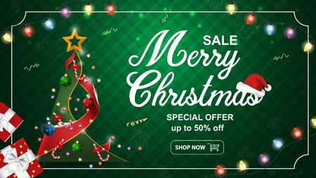 Special offer Christmas and new year sale up to fifty percent discount dark green banner with tree and gift boxes light bulb garland frame vector EPS 10  イラスト・ベクター素材