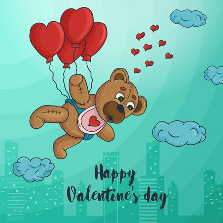 Valentines day greeting card design small toy bear flying on balloons in the form of a heart on the background of the city inscription congratulations vector