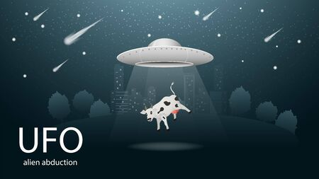 flying saucer UFO abducting animal is the cow in the beam of light banner design in dark blue background illustration of night city among the trees, the starry sky vector EPS 10 Illustration