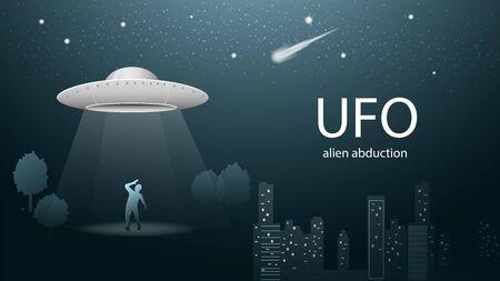 flying saucer UFO kidnaps man beam of light banner design in dark blue background illustration night city starry sky vector EPS 10