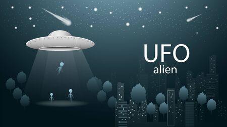 flying saucer UFO aliens fly away loading into spaceship beam of light banner design in dark blue background illustration night city among trees starry sky vector EPS 10 Illustration