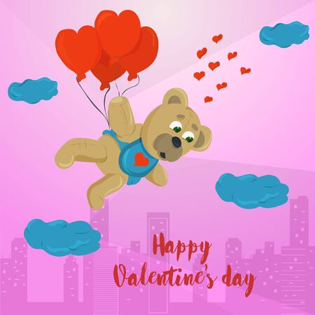 Valentines day greeting card design small toy bear flying on balloons in the form of a heart on the background of the city inscription greeting flet illustration vector