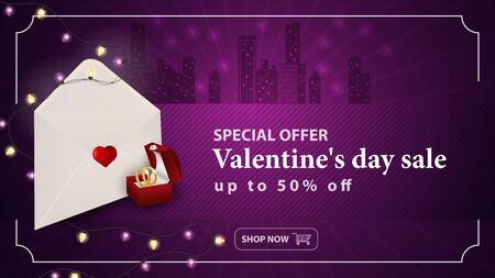 Special offer Valentines day discount up to fifty percent banner with the inscription postal envelope with a heart inside a garland jewelry box with rings in the background city vector EPS 10