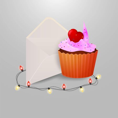 sweet cupcake with heart postal envelope and garlands with light bulbs on grey insulating background for decoration design vector EPS 10