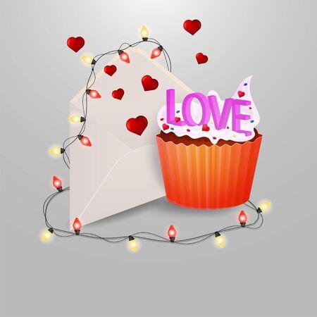 私はデザインベクトルEPS 10の装飾のための灰色の絶縁背景に電球と飛ぶ心と花輪と郵便封筒が大好きな言葉を持つ甘いカップケーキ  イラスト・ベクター素材