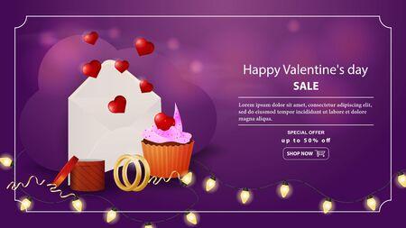 特別オファーバレンタインデー割引最大50%バナーレタリング郵便封筒とハートガーランドリングボックス甘いカップケーキベクターEPS 10