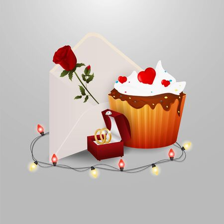 sweet cupcake postal envelope with rose flower ring box garland with light bulbs on gray insulating background for decoration design vector EPS 10