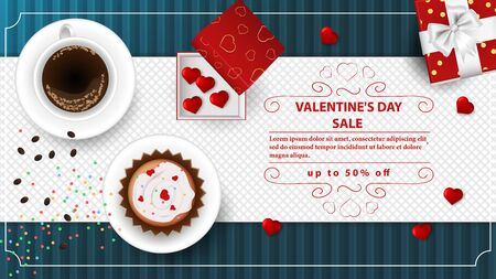 banner sale up to fifty percent happy Valentines day with space for text decoration design cupcake and coffee cups heart gift boxes top view blue background vector EPS 10  イラスト・ベクター素材