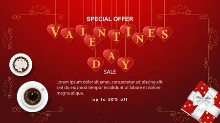banner sale special offer up to fifty percent the inscription Valentines day is written in hearts that hang on strings cupcake coffee Cup frame on a red background vector EPS 10