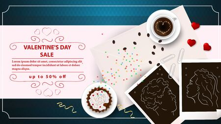 banner sale up to fifty percent happy Valentines day with space for text decoration design cupcake and coffee on cups photos of men and women top view blue background vector Çizim