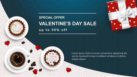 banner sale special offer up to fifty percent Happy Valentines Day with space for text decoration design two cupcakes and a Cup of coffee gift top view vector Çizim