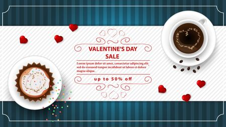 banner sale up to fifty percent happy Valentines day with space for text decoration design cupcake and coffee with heart on cups top view blue background vector EPS 10