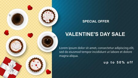 banner sale special offer up to fifty percent Happy Valentines Day with space for text cupcake and coffee Cup stands on plaid napkin top view blue background vector EPS 10 Çizim
