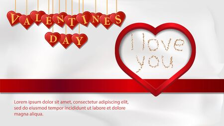 banner inscription Valentines day written in hearts that hang on strings heart with the words I love on a white background fabric top view vector EPS 10 Çizim