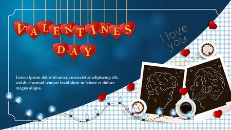 banner inscription Valentines day written in hearts that hang on strings coffee Cup photo of LGBT men for design on blue background garland frame vector