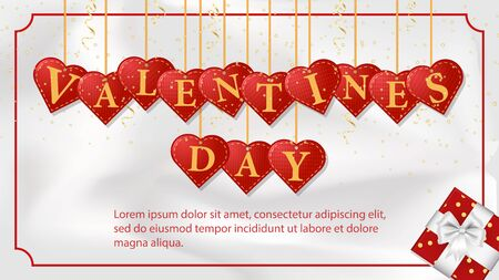 banner inscription Valentines day written in hearts that hang on strings among streamers and sequins greeting card design frame on white background fabric top view vector EPS 10