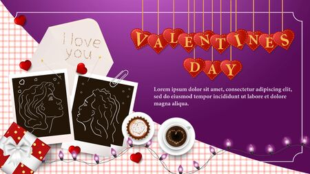 banner inscription Valentines day written in hearts that hang on strings coffee Cup photo of LGBT girl for design on pink background garland frame vector EPS 10