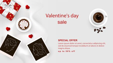 banner sale up to fifty percent happy Valentines day with space for text design decoration cupcake and coffee with heart on cups photo of lovers on white fabric top view vector EPS 10